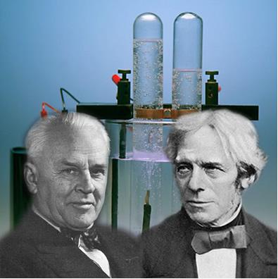 Millikan (à esquerda) descobriu a carga do elétron e, a partir desse e de outros dados colhidos, Faraday (à direita) criou as leis da eletrólise.