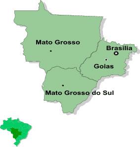 Mapa da região Centro-Oeste e seus respectivos Estados.