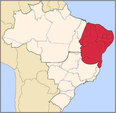 Mapa de localização do complexo regional do Nordeste ¹