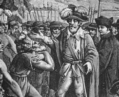 Representação da chegada do governador Tomé de Sousa à Bahia.