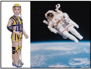 Modelo de roupas usado pelos astronautas (à esquerda vemos a parte interna, à direita, o macacão de uso externo)