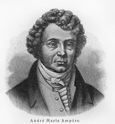 Ampère formulou a Lei de Ampère que determina o campo magnético ao redor de um fio percorrido por uma corrente elétrica