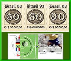 """Selos """"Olho de Boi"""" e """"Campeões do Mundo de Futebol do século 20"""""""