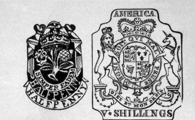 Acima, imagem de um selo usado em documentação de controle de mercadorias nos EUA, no século XVIII