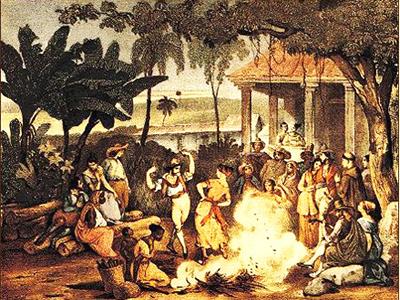 Obra de Johann Moritz Rugendas (1802-1858) representando a dança do lundu no Brasil colonial.*