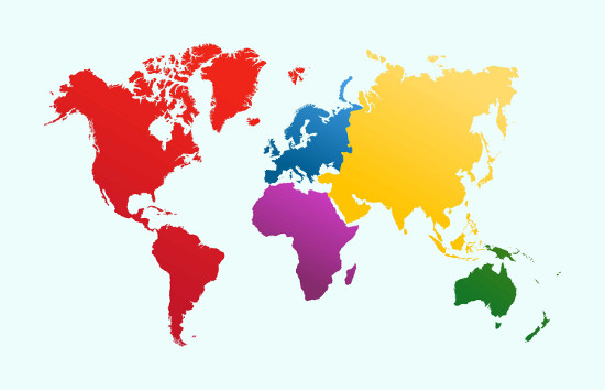 A imagem demarca os continentes da Terra, menos a Antártida