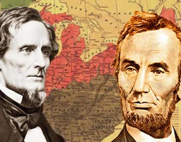 Jefferson Davis (Sul) e Abraham Lincoln (Norte): representantes de visões políticas distintas.