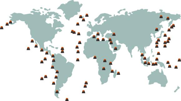 Distribuição dos vulcões no mundo. A grande maioria dos vulcões concentra-se na região de encontro de placas tectônicas