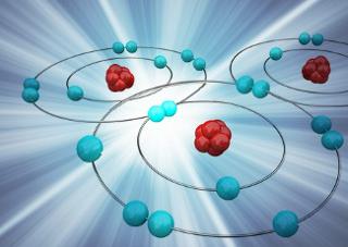 Imagem meramente ilustrativa de ligação química envolvendo elétrons em camadas internas do átomo