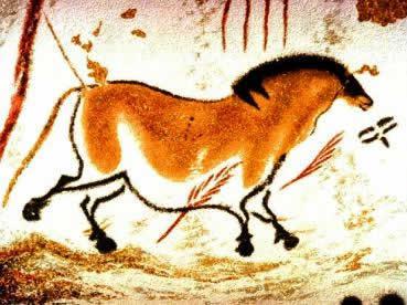 Uma pintura rupestre do Período Paleolítico.