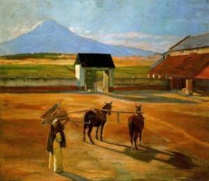 Pintura que retrata uma paisagem rural.