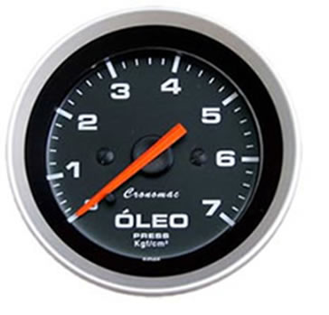 Manômetro utilizado para medir a pressão de óleo de uma máquina ou veículo.