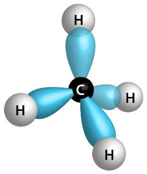 Representação dos orbitais sp3 na molécula do metano