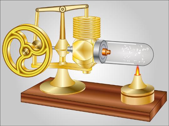 O motor de Stirling utiliza uma fonte de calor externa, como a chama de uma vela, e câmaras preenchidas com um gás a diferentes temperaturas