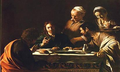 A ceia em Emaús (1600-1601), de Caravaggio, retrata o momento em que Jesus se apresenta a seus discípulos, após a Ressurreição.
