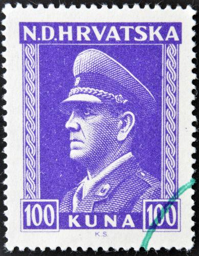 Selo croata de 1943 com o retrato do líder Ustasha Ante Pavelic *