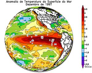 Em vermelho, a influência do El Niño.