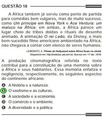 Questão do Enem de 2013 sobre a representação pejorativa feita pelo cinema a respeito da África