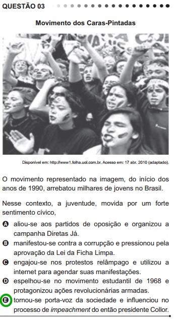 O Movimento dos Caras Pintadas foi abordado pelo Enem em 2011, no contexto da Redemocratização do Brasil
