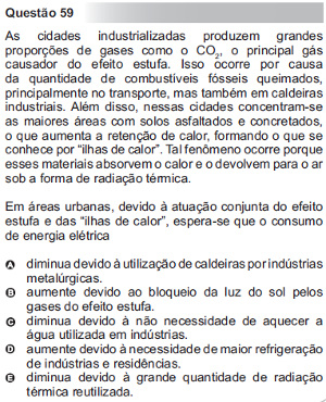 Questão 59 do Enem 2010, caderno azul, sobre efeito estufa