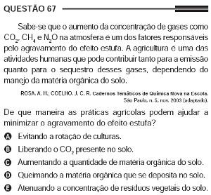 Questão 67 do Enem 2013, caderno azul, sobre agricultura e aquecimento global