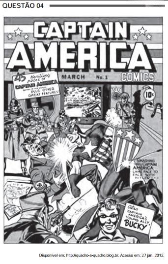 Imagem de capa da HQ do Capitão América usada em questão do Enem de 2012