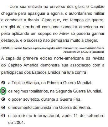 Estrutura da questão 04 do Enem de 2012, caderno azul, número 01