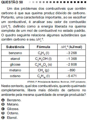 Questão 50 do Enem 2011 sobre termoquímica
